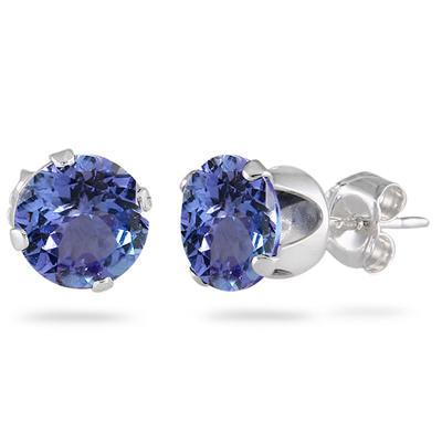 2.50 Carat Created 6MM Tanzanite Stud Earrings in .925 Sterling Silver