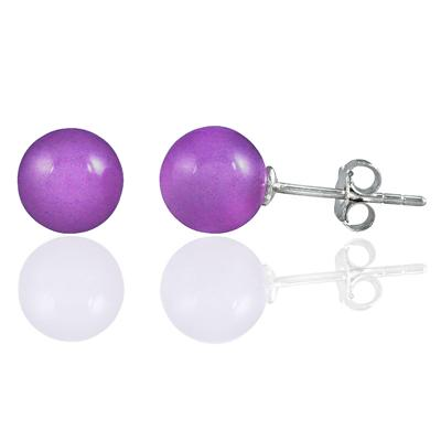 8mm Natural Lavender Jade Stud Earrings in .925 Sterling Silver
