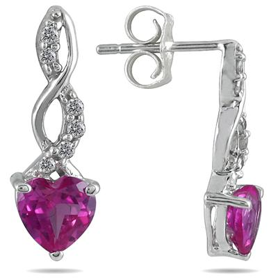 1.00 Carat All Natural Pink Topaz and Diamond Earrings in .925 Sterling Silver