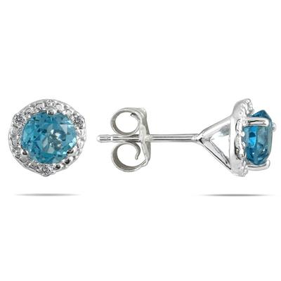 1 1/10 Carat Blue Topaz and Diamond Stud Earrings in 14K White Gold