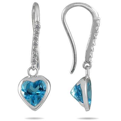 2.00 Carat Bezel Set Heart Shaped Blue Topaz and Diamond Earrings in 14K White Gold