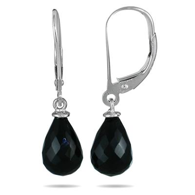 All Natural Onyx Tear Drop Earring in .925 Sterling Silver