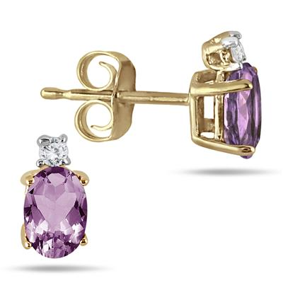 Oval Amethyst Drop and Diamond Earrings in 14K Yellow Gold