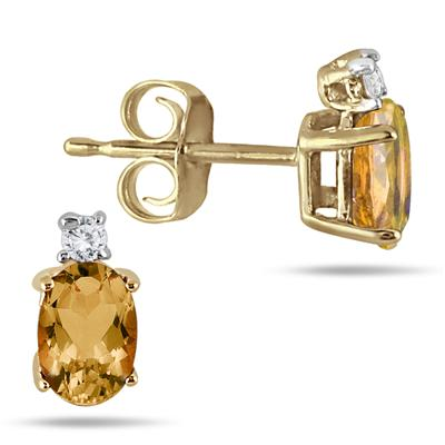 Oval Citrine Drop and Diamond Earrings in 14K Yellow Gold