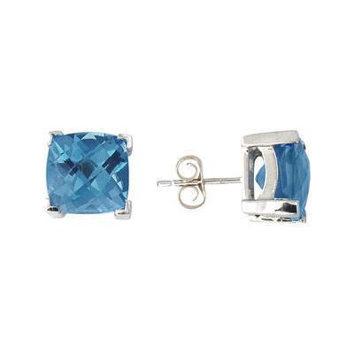 Cushion Cut Blue Topaz Earrings 14K White Gold