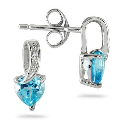 1/2 Carat Blue Topaz and Diamond Drop Heart Earrings in .925 Sterling Silver