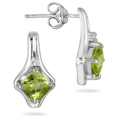 1.25 Carat Cushion Cut Peridot and Diamond Earrings in .925 Sterling Silver