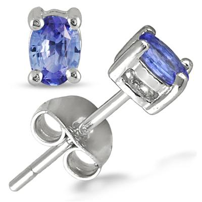1/2 Carat Oval Tanzanite Stud Earrings in .925 Sterling Silver
