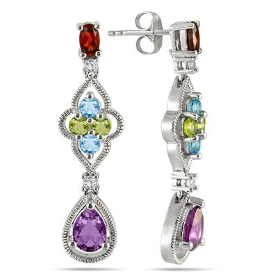 3.00 Carat Multicolor Gemstone Drop Earrings in .925 Sterling Silver