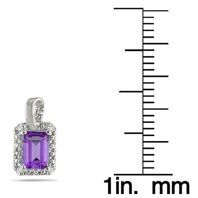 1.00 Carat Emerald Cut Amethyst and Diamond Earrings in .925 Sterling Silver