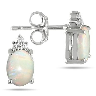 2.55 Carat October Opal and Diamond Earrings in .925 Sterling Silver