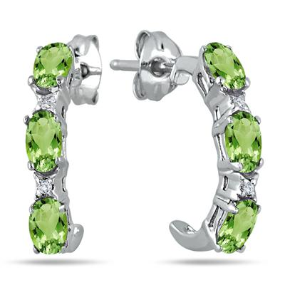 3/4 Carat All Natural Peridot and Genuine White Topaz Hoop Earrings in .925 Sterling Silver