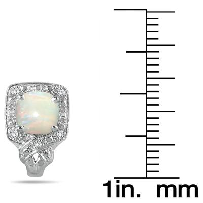 6MM Cushion Cut Created Opal and White Topaz Earrings in .925 Sterling Silver