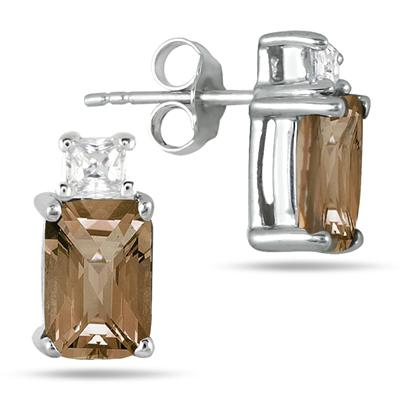 1.50 Carat Smokey Quartz and Princess White Topaz Earrings in Sterling Silver