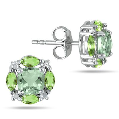 Green Quartz, Peridot and Topaz Earrings in .925 Sterling Silver