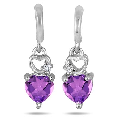 Double Heart Amethyst and Diamond Dangle Earrings in .925 Sterling Silver