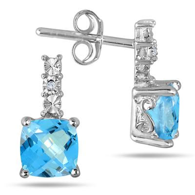 1.25 Carat Cushion Cut Blue Topaz Earrings in .925 Sterling Silver