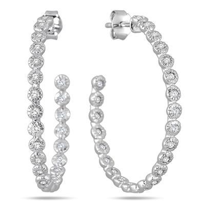 1.50 Carat White Sapphire Hoop Earrings in Rhodium Plated Brass