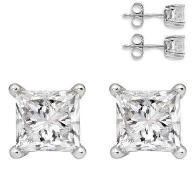 3/4 Carat Genuine White Topaz Princess Stud Earrings in .925 Sterling Silver