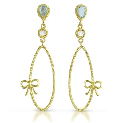 Blue and White Topaz Dangling Earrings in 18K Gold Plated Sterling Silver