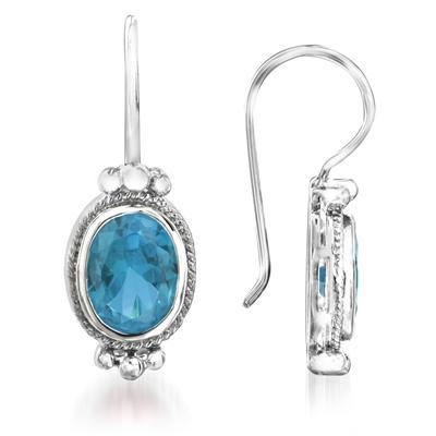 4.00 Carat Bezel Set Oval Shaped Blue Topaz Earrings in .925 Sterling Silver