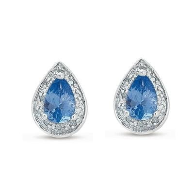 1 Carat Pear Shape Blue Topaz and Diamond Earrings in .925 Sterling Silver
