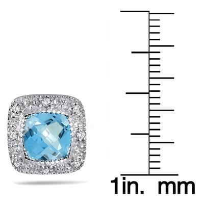 3.50 Carat Cushion Cut Blue Topaz and Halo Diamond Earrings in .925 Sterling Silver
