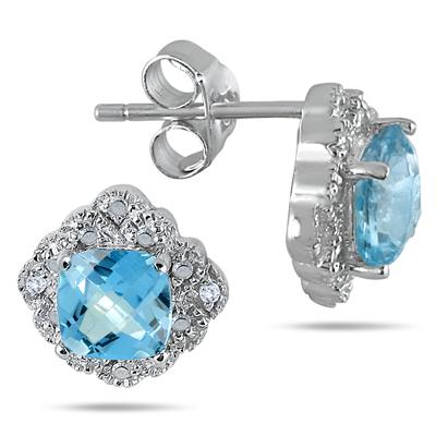 1.25 Carat Cushion Cut Blue Topaz and Diamond Earrings in .925 Sterling Silver