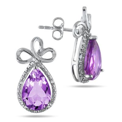 8 Carat Pear Shape Amethyst and Diamond Earrings in .925 Sterling Silver