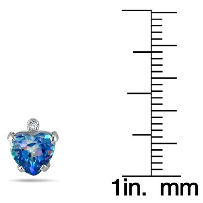 6MM Sheer Luck Blue Topaz Heart and Diamond Earrings in .925 Sterling Silver