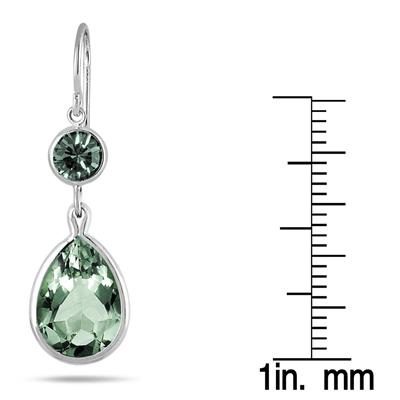 Genuine Swarovski London Green Crystal Drop Earrings in .925 Sterling Silver