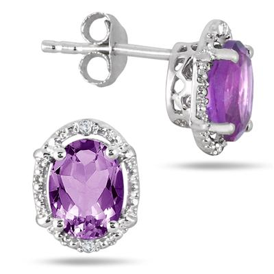 2.50 Carat Oval Amethyst and Diamond Earrings in .925 Sterling Silver
