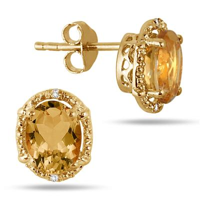 2.50 Carat Oval Citrine and Diamond Yellow Gold Plated Earrings in .925 Sterling Silver