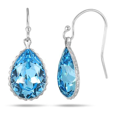 Genuine Swarovski Aquamarine Blue Crystal Earrings in .925 Sterling Silver
