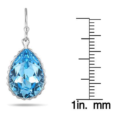 Genuine Swarovski Aquamarine Blue Crystal Earrings in .925 Sterling Silver