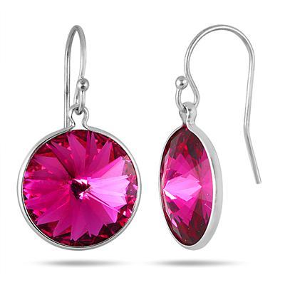 Genuine SWAROVSKI Pink Topaz Crystal Earrings in .925 Sterling Silver