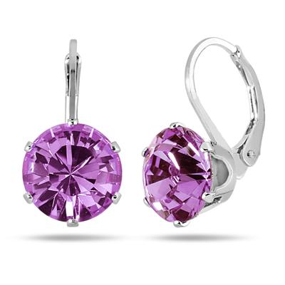 10 MM Round Genuine SWAROVSKI Purple Topaz Crystal Liver Back Earrings in .925 Sterling Silver
