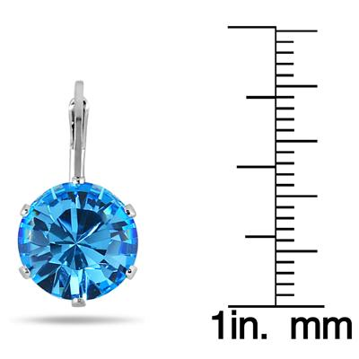 10 MM Round Genuine SWAROVSKI Blue Topaz Crystal Lever Back Earrings in .925 Sterling Silver