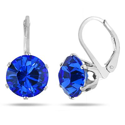 10 MM Round Genuine SWAROVSKI Sapphire Crystal Lever Back Earrings in .925 Sterling Silver