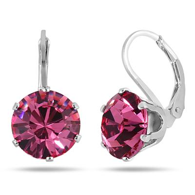 10 MM Round Genuine SWAROVSKI Pink Crystal Liver Back Earrings in .925 Sterling Silver