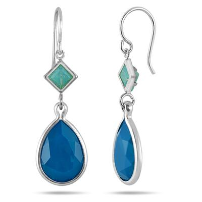 Genuine Swarovski Caribbean Crystal Opal Drop Earrings in .925 Sterling Silver