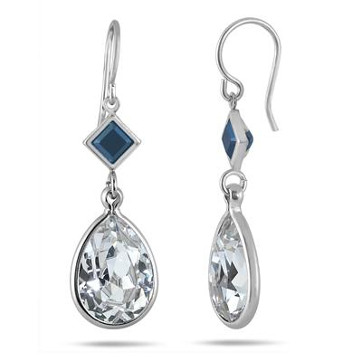 Genuine Swarovski Black and White Crystal Drop Earrings in .925 Sterling Silver