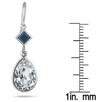 Genuine Swarovski Black and White Crystal Drop Earrings in .925 Sterling Silver