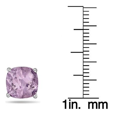 5.00 Carat Natural Cushion Cut Amethyst Stud Earrings in .925 Sterling Silver