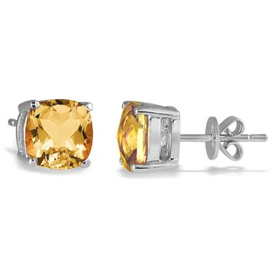 4.00 Carat Natural Cushion Cut Citrine Stud Earrings in .925 Sterling Silver