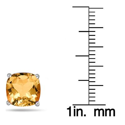 4 Carat Natural Cushion Cut Citrine Stud Earrings in .925 Sterling Silver