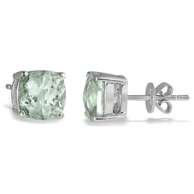 4.00 Carat Natural Cushion Cut Green Amethyst Stud Earrings in .925 Sterling Silver