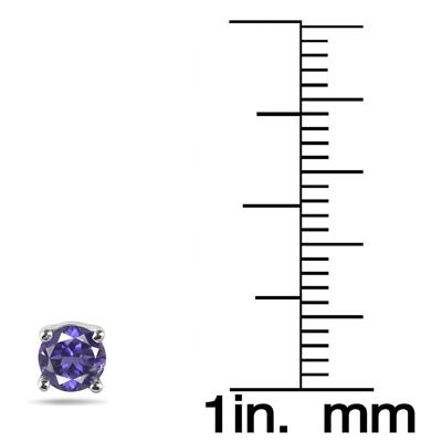 1/2 Carat Round Iolite Stud Earring in.925 Sterling Silver