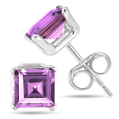 5MM All Natural Princess Amethyst Stud Earrings in .925 Sterling Silver