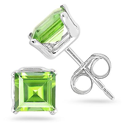 5MM All Natural Princess Peridot Stud Earrings in .925 Sterling Silver